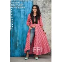 FFI-Trendy Ikkat Kurti with embroidered yoke