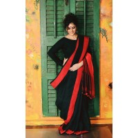 Black & Red Handloom linen saree
