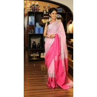 Pink pure Linen Saree with wide border-0063