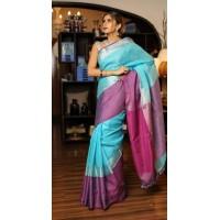 Blue Linen Saree with purple wide border-0065