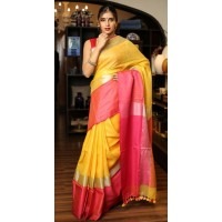 Yellow & Pink Linen saree with wide border-0066