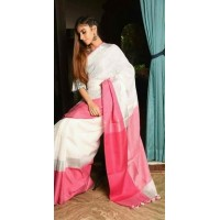 White Linen saree  with wide border -0067