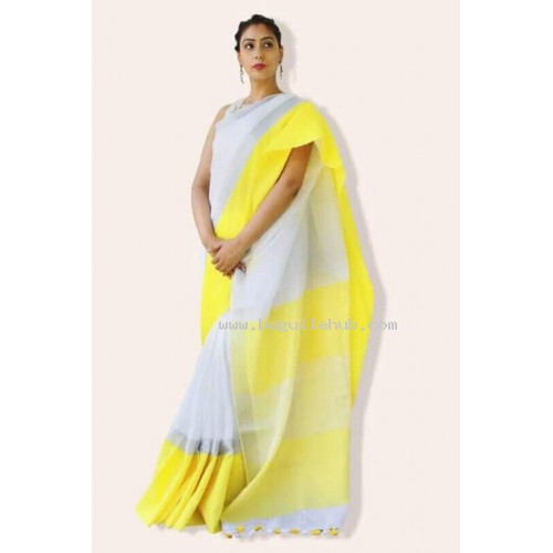 White and Yellow Linen saree with wide border -0068