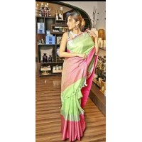 Green and Pink Linen Saree with wide border-0070