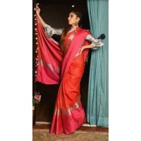 Orange and Pink Linen Saree with wide border -0072