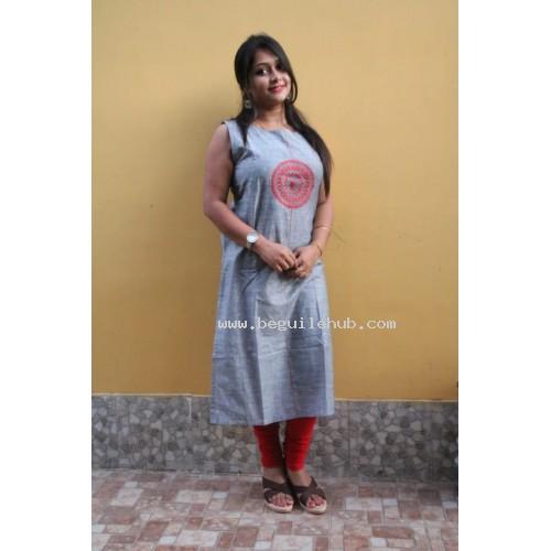 khadi kurti grey with embroidery