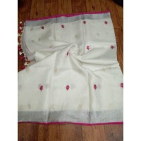 White Linen Saree with embroidery