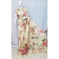 Beige linen saree with floral prints