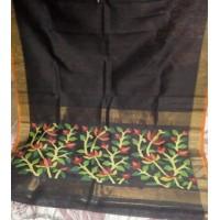 Black Linen Silk Jamdani Saree