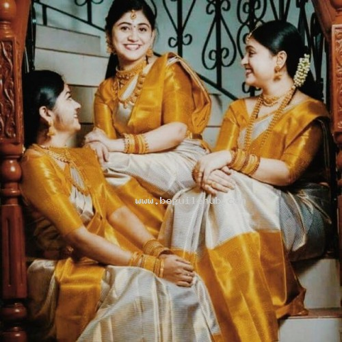 Andhra Uppada Tissue Saree -offwhite /yellow